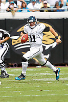 October 09, 2011:   Jacksonville Jaguars quarterback Blaine Gabbert (11) scrambles out of the pocket during first half action between the Jacksonville Jaguars and the Cincinnati Bengals played at EverBank Field in Jacksonville, Florida.  ........