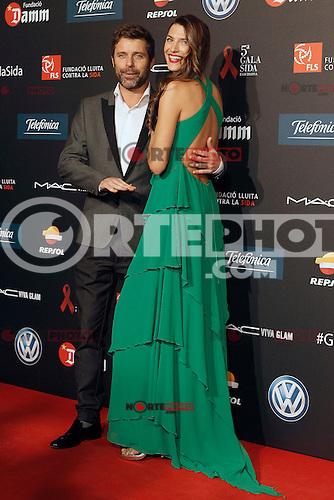 Spanish model Laura Sanchez with her boyfriend during Barcelona 5th AIDS Ceremony. November 24,2014.(ALTERPHOTOS/Acero) /NortePhoto<br /> NortePhoto.com