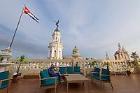 Havana, Cuba. Hotel Inglaterra. Gran Teatro de la Habana seen from the rooftop terrace.
