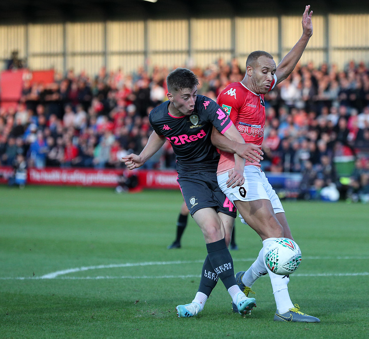 Leeds United's Jack Clarke takes on Salford City's Lois Maynard<br /> <br /> Photographer Alex Dodd/CameraSport<br /> <br /> The Carabao Cup First Round - Salford City v Leeds United - Tuesday 13th August 2019 - Moor Lane - Salford<br />  <br /> World Copyright © 2019 CameraSport. All rights reserved. 43 Linden Ave. Countesthorpe. Leicester. England. LE8 5PG - Tel: +44 (0) 116 277 4147 - admin@camerasport.com - www.camerasport.com