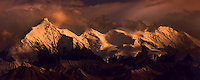 Dramatic last light illuminates the Denali range.