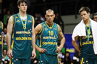 Boomers players AJ Ogilvy, James Harvey and Brad Newley with their runner-up medals during the International basketball match between the NZ Tall Blacks and Australian Boomers at TSB Bank Arena, Wellington, New Zealand on 25 August 2009. Photo: Dave Lintott / lintottphoto.co.nz