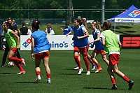 Kansas City, MO - Saturday May 13, 2017: Portland Thorns FC warming up prior to a regular season National Women's Soccer League (NWSL) match between FC Kansas City and the Portland Thorns FC at Children's Mercy Victory Field.