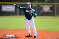 Chicago State University Cougars shortstop Julian Russell #1 during practice before a game against the St. Bonaventure Bonnies at South County Regional Park on March 3, 2013 in Punta Gorda, Florida.  (Mike Janes/Four Seam Images)