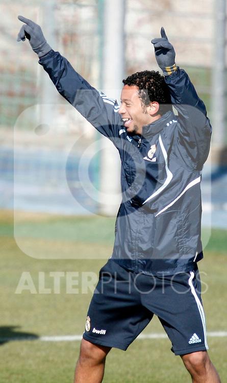 Madrid (24/02/10).-Entrenamiento del Real Madrid..Marcelo...© Alex Cid-Fuentes/ ALFAQUI..Madrid (24/02/10).-Training session of Real Madrid c.f..Marcelo...© Alex Cid-Fuentes/ ALFAQUI.