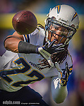 21 September 2014: San Diego Chargers cornerback Jason Verrett warms up prior to facing the Buffalo Bills at Ralph Wilson Stadium in Orchard Park, NY. The Chargers defeated the Bills 22-10 in AFC play. Mandatory Credit: Ed Wolfstein Photo Original image was made as a RAW (NEF) file using a Nikon D4 DSLR camera.