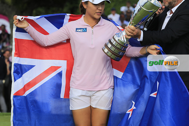 Lydia Ko (NZL) wins the Championship by 6 shots and makes history by becoming the youngest Major winner in golf at the end of Sunday's Final Round of the LPGA 2015 Evian Championship, held at the Evian Resort Golf Club, Evian les Bains, France. 13th September 2015.<br /> Picture Eoin Clarke | Golffile
