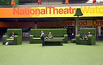Giant green furniture outside the National Theatre, South Bank, London