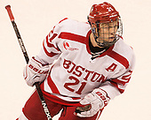 Matt Lane (BU - 21) - The Boston University Terriers defeated the visiting Merrimack College Warriors 4-0 (EN) on Friday, January 29, 2016, at Agganis Arena in Boston, Massachusetts.