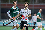 AMSTELVEEN -  Tom Hiebendaal (Adam) met Hidde Turkstra van R'dam  tijdens de hoofdklasse competitiewedstrijd heren, AMSTERDAM-ROTTERDAM (2-2). COPYRIGHT KOEN SUYK