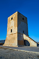 Defensive tower of the salt pans of the Nubia Salt works Museum, Trapani and Paceco site, Trapani Sicily.