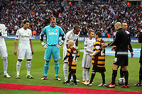 Pictured: (L-R) Angel Rangel, Gerhard Tremmel, Ashley Williams. Sunday 24 February 2013<br /> Re: Capital One Cup football final, Swansea v Bradford at the Wembley Stadium in London.
