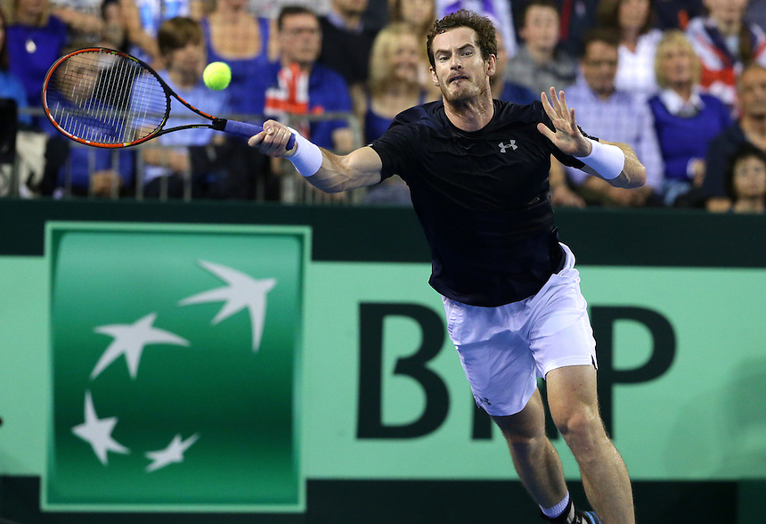 Great Britain&rsquo;s Andy Murray in action during his match against Australia&rsquo;s Bernard Tomic<br /> <br /> Photographer Stephen White/CameraSport<br /> <br /> International Tennis - 2015 Davis Cup by BNP Paribas - World Group Semi-Final - Great Britain v Australia - Day 3 - Sunday 20th September 2015 - The Emirates Arena - Glasgow<br /> <br /> &copy; CameraSport - 43 Linden Ave. Countesthorpe. Leicester. England. LE8 5PG - Tel: +44 (0) 116 277 4147 - admin@camerasport.com - www.camerasport.com.