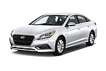 2016 Hyundai Sonata Hybrid SE 4 Door Sedan Angular Front stock photos of front three quarter view