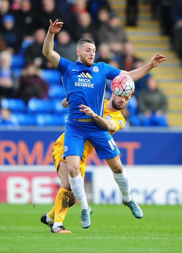 Preston North End's Greg Cunningham vies for possession with Peterborough United's Conor Washington<br /> <br /> Photographer Chris Vaughan/CameraSport<br /> <br /> Football - The FA Cup Third Round - Peterborough United v Preston North End - Saturday 9th January 2016 - ABAX Stadium - Peterborough <br /> <br /> &copy; CameraSport - 43 Linden Ave. Countesthorpe. Leicester. England. LE8 5PG - Tel: +44 (0) 116 277 4147 - admin@camerasport.com - www.camerasport.com