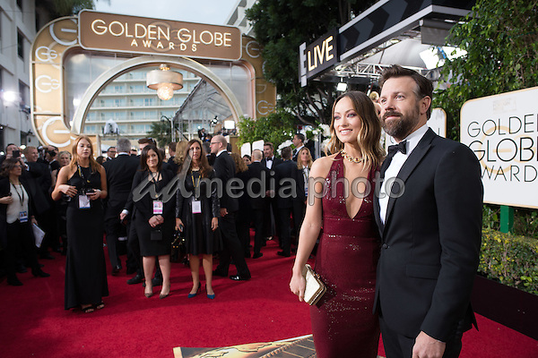 Presenter Olivia Wilde and actor Jason Sudeikis attend the 73rd Annual Golden Globe Awards at the Beverly Hilton in Beverly Hills, CA on Sunday, January 10, 2016. Photo Credit: HFPA/AdMedia