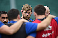 Dave Attwood of Bath Rugby looks on in a huddle. Bath Rugby Captain's Run on October 30, 2015 at the Recreation Ground in Bath, England. Photo by: Patrick Khachfe / Onside Images