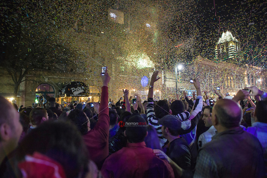 6th Street Celebration, Tens of thousands of people gather on sixth Street in downtown Austin for the New Year's Celebration and ball drop.