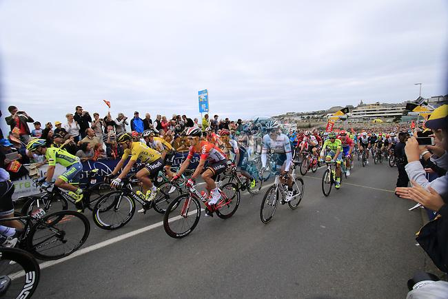 The start of Stage 3 of the 2016 Tour de France, running 223.5km from Granville to Angers, France . 4th July 2016.<br /> Picture: Eoin Clarke | Newsfile<br /> <br /> <br /> All photos usage must carry mandatory copyright credit (&copy; Newsfile | Eoin Clarke)