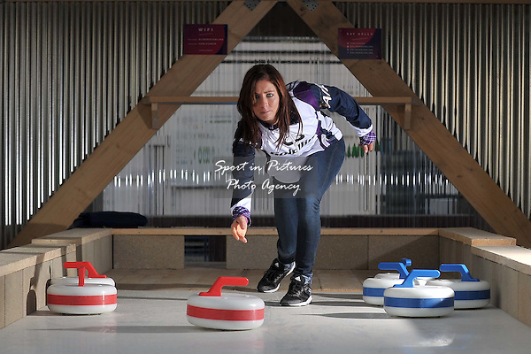 Eve Muirhead at the opening of the new rooftop curling centre in East London. Sliders. Roof East. Stratford Shopping Centre. London. England. UK. 03/11/2016. ~ MANDATORY CREDIT Garry Bowden/SIPPA - NO UNAUTHORISED USE - +44 7837 394578
