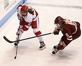 Mary Parker (BU - 15), Erin Connolly (BC - 15) - The Boston College Eagles defeated the Boston University Terriers 3-2 in the first round of the Beanpot on Monday, January 31, 2017, at Matthews Arena in Boston, Massachusetts.