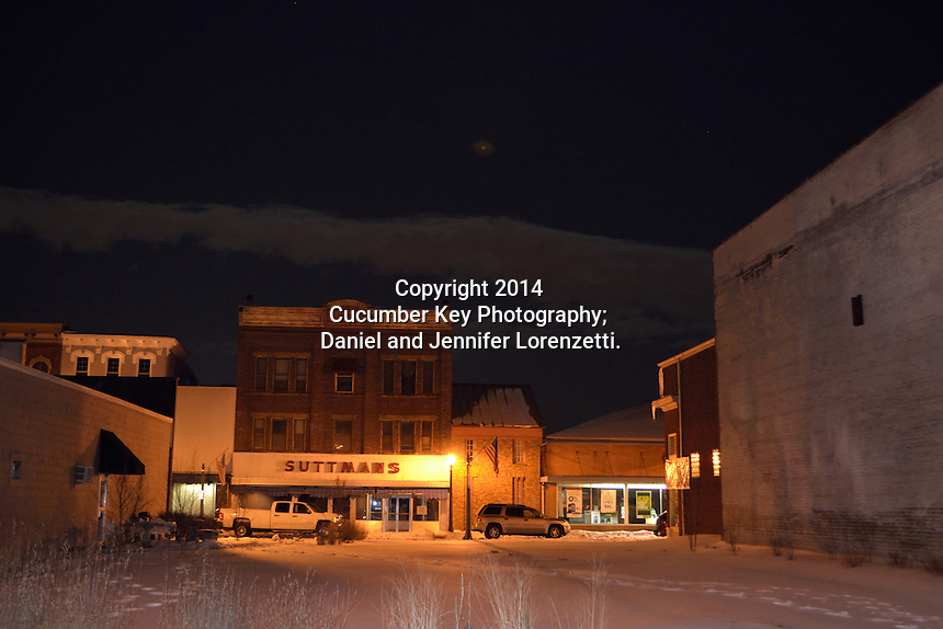 A view of small town Ohio on a winter night in Miamisburg.