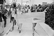 21 Aug 1972, Miami, Florida, USA --- Outside of the 1972 30th Republican Convention, during President Richard Nixon's reelection campaign, several thousand Women's Lib protesters demonstrate. The protest led by Jane Fonda, having just returned from her North Vietnam tour, was joined by the Vietnam Veterans to speak out against the war. No clashes with police were reported. --- Image by © JP Laffont/Sygma/Corbis
