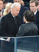 United States Vice President Joe Biden shakes hands with Associate Justice Sonia Sotomayor after taking the oath of office during the public swearing-in ceremony at the U.S. Capitol in Washington, D.C. on Monday, January 21, 2013.  .Credit: Ron Sachs / CNP.(RESTRICTION: NO New York or New Jersey Newspapers or newspapers within a 75 mile radius of New York City)