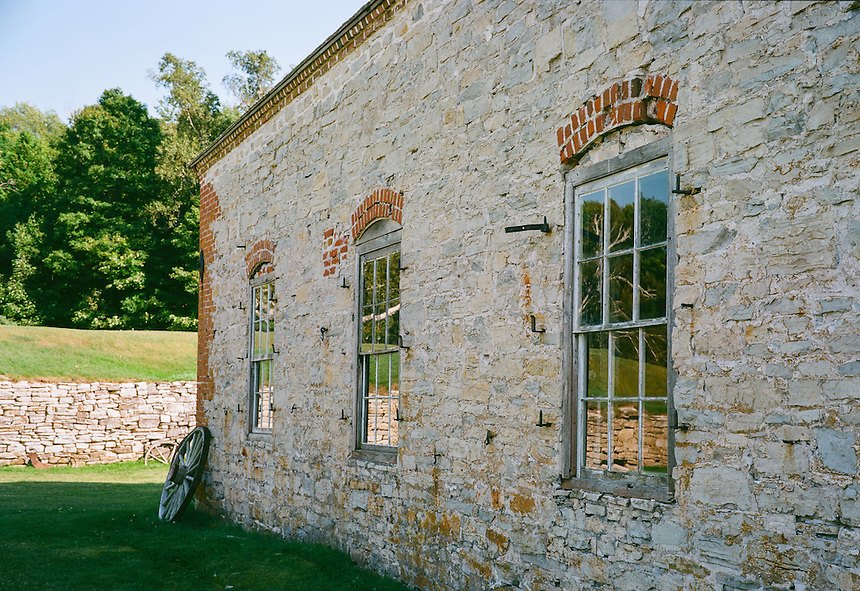 The beautiful stone work and other historic details of a ghost town building at the Fayette Historic State Park in Fayette, MI. Kodak Ektar 100 film