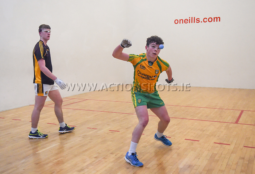 19/03/2018; 40x20 All Ireland Juvenile Championships Finals 2018; Kingscourt, Co Cavan;<br /> Boys Under-17 Singles; Kilkenny (Jack Holden) v Donegal (Odhran McGlynn)<br /> Photo Credit: actionshots.ie/Tommy Grealy