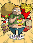 Illustration of overweight boy eating while standing on broken weighing scale