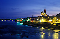 AJ1635, Loire Valley, France, Blois, Europe, The scenic medieval town of Blois is illuminated at night along the Loire River in the Loire Castle Region of France.