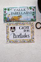 Enamel street sign: Calle Parelladas. Sitges, Catalonia, Spain