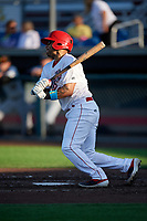 Auburn Doubledays Wilmer Perez (20) at bat during a NY-Penn League game against the West Virginia Black Bears on August 23, 2019 at Falcon Park in Auburn, New York.  West Virginia defeated Auburn 8-1, the first game of a doubleheader.  (Mike Janes/Four Seam Images)