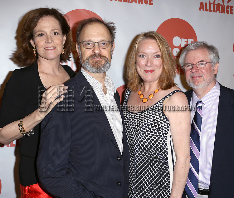 Sigourney Weaver, David Hyde Pierce, Kristine Nielsen, and Playwright Christopher Durang  attending The 3rd Annual Off Broadway Alliance Awards Reception at Sardi's Restaurant in New York City on June 18, 2013