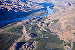 Aerial view of apple and cherry orchards in Bray's Landing area near Orondo, Washington in Douglas County.  Columbia River in background..