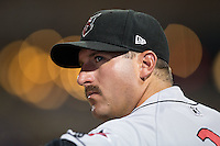 Indianapolis Indians pitcher Brad Lincoln (31) watches the action from the dugout during the game against the Durham Bulls at Durham Bulls Athletic Park on August 4, 2015 in Durham, North Carolina.  The Indians defeated the Bulls 5-1.  (Brian Westerholt/Four Seam Images)