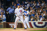 Chicago Cubs Willson Contreras (40) bats in the first inning during Game 4 of the Major League Baseball World Series against the Cleveland Indians on October 29, 2016 at Wrigley Field in Chicago, Illinois.  (Mike Janes/Four Seam Images)