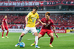 Jiangsu FC Midfielder Zhang Xiaobin (L) in action against Shanghai FC Defender Shi Ke (R) during the AFC Champions League 2017 Round of 16 match between Shanghai SIPG FC (CHN) vs Jiangsu FC (CHN) at the Shanghai Stadium on 24 May 2017 in Shanghai, China. Photo by Marcio Rodrigo Machado / Power Sport Images