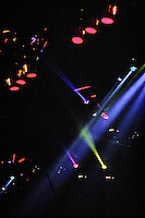 Set-Lights. The Grateful Dead in Concert at the Brendan Bryne Arena, East Rutherford NJ, on April 1st 1988. View from stage left, level with stage.