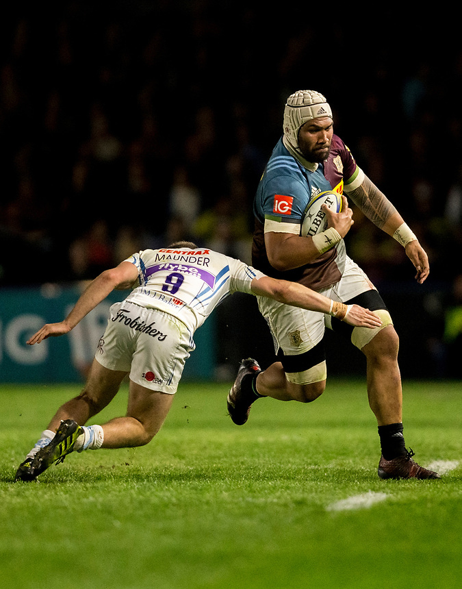 Harlequins' Mathew Luamanu in action during todays match <br /> <br /> Photographer Bob Bradford/CameraSport<br /> <br /> Aviva Premiership Round 20 - Harlequins v Exeter Chiefs - Friday 14th April 2016 - The Stoop - London<br /> <br /> World Copyright &copy; 2017 CameraSport. All rights reserved. 43 Linden Ave. Countesthorpe. Leicester. England. LE8 5PG - Tel: +44 (0) 116 277 4147 - admin@camerasport.com - www.camerasport.com