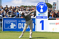 Maximilian Kieffer (GER) on the 1st tee  during Round 3 of the Open de Espana 2018 at Centro Nacional de Golf on Saturday 14th April 2018.<br /> Picture:  Thos Caffrey / www.golffile.ie<br /> <br /> All photo usage must carry mandatory copyright credit (&copy; Golffile | Thos Caffrey)