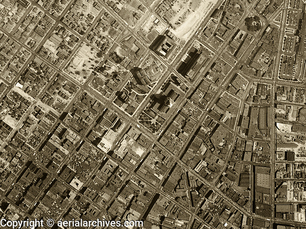 Historical aerial photograph First Street, City Hall, Los Angeles, California, 1948