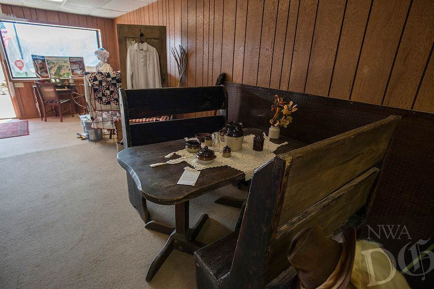 NWA Democrat-Gazette/ANTHONY REYES &bull; @NWATONYR<br /> Exhibits inside the Elm Springs Historical Society Monday, March 21, 2016 inside their 100-year-old building. Exhibits include colonial period, ozark life, costumes and civil war pieces. Across the street from the building is land that will become a park where they have evidence thousands of civil war troops once camped.