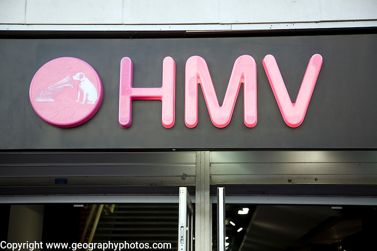 Close up of red letters of HMV shop, an example high street chain store brand