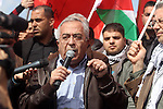 Palestinian Prime Minister, Salam Fayyad speaks during the festival of the eighth anniversary of the Popular Resistance in the West Bank town of Bilin, on 01 March 2013. The residents of Bilin, west of Ramallah, marked eight years of the village's struggle against the separated wall. Despite the rerouting of the Wall in June 2011, some 1,350 dunams (333 acres) are left on the 'Israeli' side of the Wall and were effectively annexed to the adjacent Jewish settlement of Modi'in Ilit. Photo by Issam Rimawi