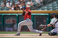Luis Urias (3) of the El Paso Chihuahuas bats against the Salt Lake Bees at Smith's Ballpark on July 8, 2018 in Salt Lake City, Utah. El Paso defeated Salt Lake 15-6. (Stephen Smith/Four Seam Images)
