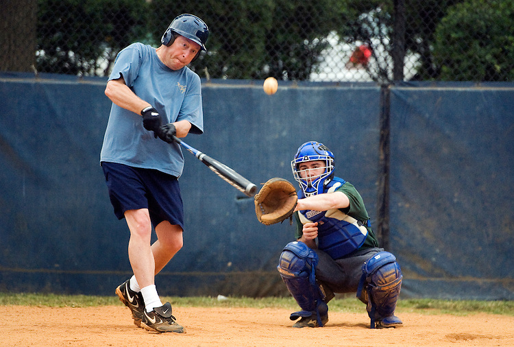 UNITED STATES - JUNE 16:  Rep. Ben Chandler, D-Ky., takes batting practice during the democratic team baseball practice at Brentwood Park in Northeast.  Marc Cevasco, from the office of Rep. Steve Rothman, D-N.J., does the catching.  (Photo By Tom Williams/Roll Call)