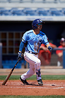 Charlotte Stone Crabs second baseman Peter Maris (3) follows through on a swing during a game against the Palm Beach Cardinals on April 12, 2017 at Charlotte Sports Park in Port Charlotte, Florida.  Palm Beach defeated Charlotte 8-7.  (Mike Janes/Four Seam Images)