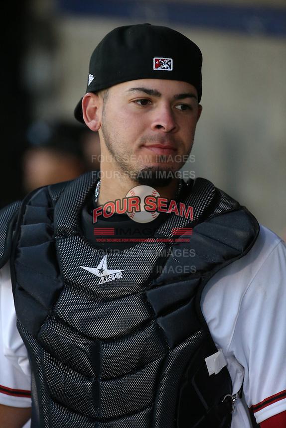 Kevin Torres (36) of the High Desert Mavericks in the fin the dugout during a game against the Lancaster JetHawks at Heritage Field on April 23, 2016 in Adelanto, California. High Desert defeated Lancaster, 10-9. (Larry Goren/Four Seam Images)